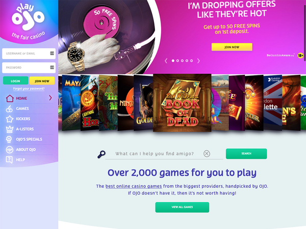 PlayOJO Casino Screenshot